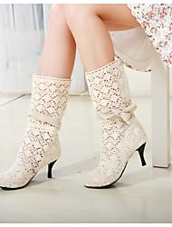 Черный / Коричневый / Белый - Женская обувь - Для офиса / Для праздника - Тюль - На конусовидном каблуке - С круглым носком / Модная обувь
