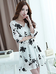 Women's Plus Size Embroidered Chiffon Dress