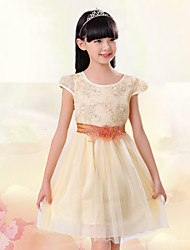 Girl's Beige Dress,Jacquard Polyester Summer