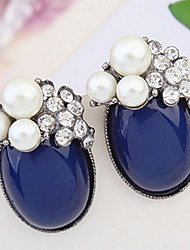 European And American Fashion Wild Temperament Oval Pearl Earrings