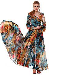 Women's Retro V Neck Printed Chiffon Long Sleeve Maxi Dress