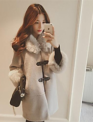 Women's Solid Gray Coat , Casual Long Sleeve