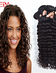 4pcs / lot cru onda preto mongol cabelo virgem onda profunda extensões de cabelo humano cabelo natural 8 '' - 30 '' cabelo tecem