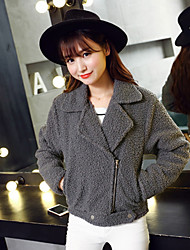 Women's Coat,Solid Long Sleeve Winter Pink / Gray Cotton Thick