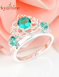 Lucky Shine Amazing 925 Silver Fire Round Green Quartz Crystal Gemstone Crown Rings For Friend Family Holiday Gift