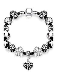 Classic Graceful  Women's  Stoving Varnish Glass Silver Plated Tin Alloy Charm Bracelet(Black)(1Pc)