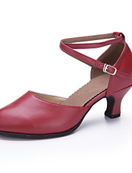 Non Customizable Women's Dance Shoes Leather / Patent Leather Leather / Patent Leather Modern Heels Cuban HeelPractice / Beginner /