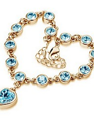 High Quality Crystal Golden Plated Heart Shape Chain &Link Bracelet Christmas Gifts