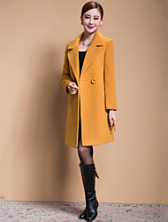 Women's Solid Blue / Black / Yellow Casual Loose Long Woolen Overcoat , Work / Plus Sizes Long Sleeve Wool