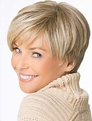 la mode vieille dame couleur blond cheveux courts droite perruques synthétiques