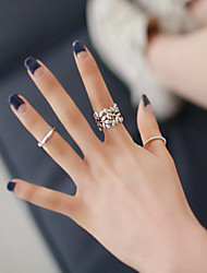 Alloy Leaf Shape Adjustable Ring Set Midi Rings(Set of 3)