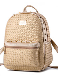 Women's Fashion Casual PU Leather Knit Backpack