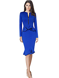 Women's Fashion Retro Bodycon O Neck Long Sleeve Pattern Color Dress