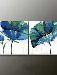 Ручная роспись Цветочные мотивы/ботаническийModern 2 панели Холст Hang-роспись маслом For Украшение дома