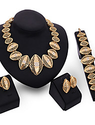 May Polly  The new European Jewelry Ring Necklace Earrings Set
