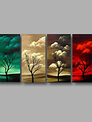 Ready to Hang Stretched Hand-Painted Oil Painting 4 Pieces Canvas Wall Art Modern Lanscape Trees Sunshine