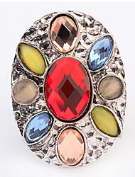 Europe And America Bohemian Street Fashion Round Multicolored Gemstone Rings (Random Color)