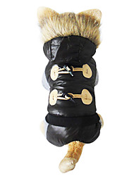 Cute Hoodied Horn Button On Back Pet Dogs Thick Winter Coat Dogs clothes 2015 new clothing for dog(M/L/XL) -black