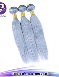 3Pcs/Lot Brazilian Straight Virgin Hair Platinum Grey Hair Extension Human Hair Extensions Silver Grey Hair Weaves