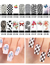 20pcs Water Transfer Nail Stickers Decals Full Cover Nail Wraps DIY Nail Art Decoration Supplies(C1-001 to C1-020)