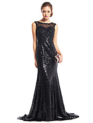 TS Couture Formal Evening Dress - Sparkle & Shine Trumpet / Mermaid Scoop Sweep / Brush Train Sequined with Sequins