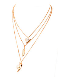 New Leaf Exaggeration Alloy Pearl Party Daily Chain Necklaces For Woman&Lady
