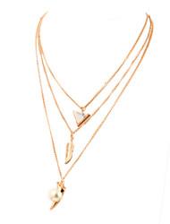 Colar Imitação de Pérola colares em camadas Jóias Diário Triangular Imitação de Pérola Liga Feminino 1peça Dom Dourado