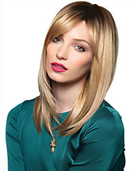 Fashionable Sweet Side Bang Gloden Medium Length Synthetic Hair Wig