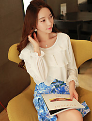DABUWAWA Women's  Fashion Chiffon Long Sleeve White Tops & Blouses