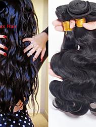 3Bundles color natural de la onda del cuerpo del pelo indio 8-26inch cabello humano virginal teje