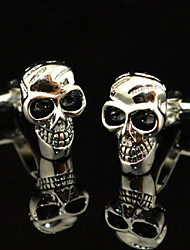 Fashion Copper Men Gift Jewelry Silver Skull Skeleton Black Enamel Shirt Button Cufflinks(1Pair)