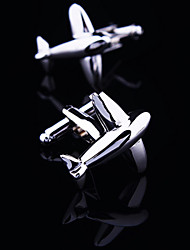Fashion Copper Men Gift Jewelry Silver Plated Plane Fly Shirt Button Cufflinks(1Pair)