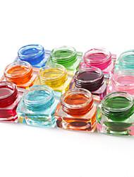 12pcs couleur mélangée couleur pure gel de couleur gel uv uv constructeur transparente ongles jeu Nail Art Décoration (8 ml)