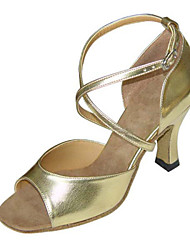 Non Customizable Women's Dance Shoes Latin /Swing/Salsa / Samba/ Leatherette / Taffeta Chunky HeelBlack /Silver/Gold/
