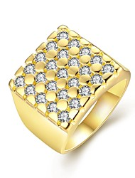 Fashion Luxury Women's  Square White Zircon Gold-Plated Brass Statement Rings(Golden,Rose Gold,)(1Pcs)