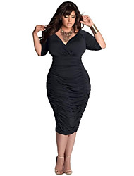 Women's Fashion Deep V-neck Sheath Bodycon Casual Party Plus Size Dress