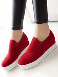 Women's Shoes Leatherette Wedge Heel Wedges / Heels / Round Toe Loafers Outdoor / Office & Career / Casual Black