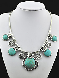 Vintage Look Antique Silver Alloy Flower Cz Crystal Turquoise Stone Necklace Pendant (1PC)