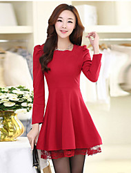 Women's Patchwork Red Dresses , Bodycon Square Long Sleeve