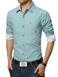 Men's Fashion Solid Pocket Printed Slim Fit Long-Sleeve Shirt