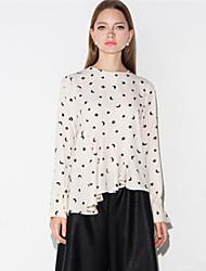Spring Women's Asymmetric Stars Printing Round Neck Long Sleeve T-Shirt Blouse Tops