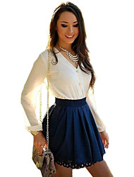 Women's Sexy Patchwork Color Block White Slim Dress , Casual / Party V Neck Long Sleeve