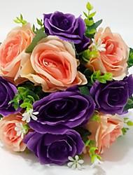 Fleurs de mariage Rond Roses Bouquets Mariage / Le Party / soirée Satin Env.25cm