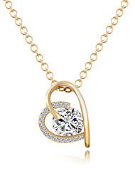 Designer Jewelry Alloy Zircon Heart Pendant Necklace Elegant