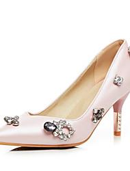 Women's Heels Spring Summer Fall Slingback PU Wedding Party & Evening Dress Low Heel Rhinestone Blue Pink
