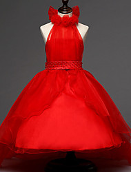 A-line Court Train Flower Girl Dress - Organza / Satin Sleeveless Halter with