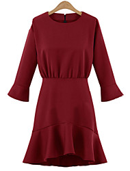 Women's Party / Casual / Day Solid Sheath Dress , Round Neck Above Knee