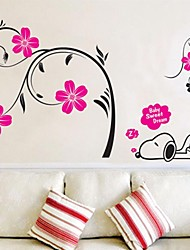 Cartoon Snoopy Sleeping with Flower Tree PVC Wall Sticker Wall Decals