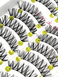 10 Pairs Cílios Tiras Completas de Cílios Pestana Cruzado / Comprimento Natural Estendido / Pestanas Levantadas / Volumizado / Natural