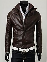 Men's Casual Double Collar Washed Leather Motorcycle Jacket , Lined